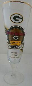 "Green Bay Packers Super Bowl 2 Championship 8.5"" Tall Bradford Pilsner Glass"