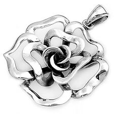 Flower Rose Pendant .925 Sterling Silver Layered Charm