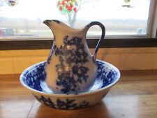 Antique Flow Blue Pitcher & Basin Bowl EVC