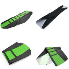 1x Universal Gripper Soft Motorcycle Seat Cover Dirt Bike Green & Black Rubber