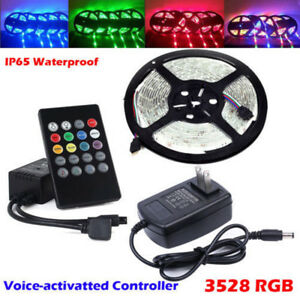 5M 3528 RGB LED Strip Lights Tape + Remote Music Controller IR + 12V Power