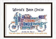 Word Art Print BEST BROTHER UNCLE motorbike personalised gift Birthday Day Thank
