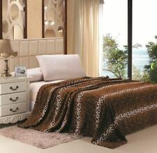 Brown Leopard Blanket Bedding Throw Fleece King Super Soft Stylish
