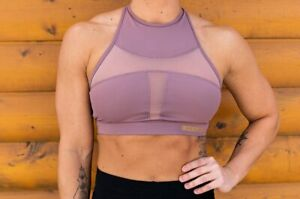 The Chestee THE CELIA ROSE PINK Sports Bra Sz S Removable Pads High Neck