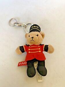 "FAO Schwarz Christmas Plush Soldier Teddy Bear 5"" Keychain Nutcracker Uniform"