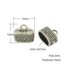 Tibetan Oval End Caps Antique Silver 7 x 12mm  6 Pcs Findings Jewellery Making