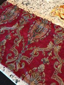 "Curtain Valance Custom Handmade Damask Deep Red Gold 55"" x 20"""