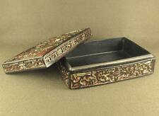 OLD WITH CARVED FIGURES ORNAMENTATION LID CHINESE LACQUER WARE BOX