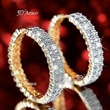 18K YELLOW WHITE GOLD GF HUGGIE MADE WITH SWAROVSKI CRYSTAL HOOP EARRINGS