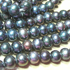 Black Peacock Freshwater Pearl 9mm-10mm Round 2mm Large Bead Hole 7.5""