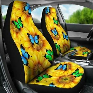 2pcs Front Seat Covers Protector Universal For SUV Auto Flower&Butterfly Pattern