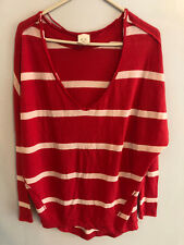 Free People Long Sleeve Striped Red and White XS shirt______R8B4