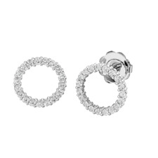 18k White Gold Round Cut Stud Earrings 0.36ct Real Diamond For Christmas Gift