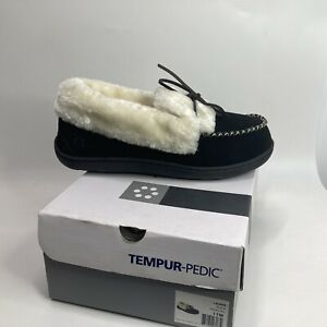 NEW Tempur-Pedic Laurin Moccasin Slipper Black Suede Size 11 W Sherpa TP6062--