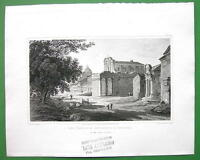 ITALY Rome Temple of Antoninus & Faustina - 1820 Antique Print by Miss BATTY
