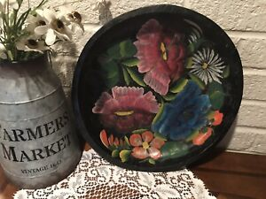 Vintage Mexican Batea Bowl Folk Art Flower Bouquet Wood Toleware Hand Painted
