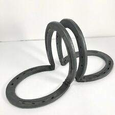 1 Pair of Vtg Cast Iron Horseshoe Bookends Western Design Nordic Forge Rustic