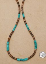 TURQUOISE NECKLACE GENUINE 6mm GEMSTONE HEISHE BEADS SILVER ACTIVE WEAR SURFER