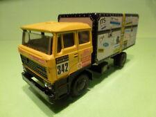 LION CAR DAF 3300 TRUCK - DE ROOY PARIS DAKAR 1983 COFFER - YELLOW 1:50 - GOOD