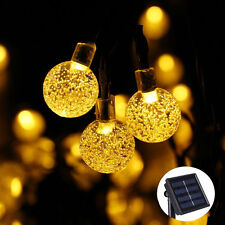 30LED Crystal Ball Globe String Lights Warm White Solar Outdoor Patio Light