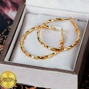 Womens Polished 18k Yellow Gold Filled 40mm Twist Hoop Earrings, PERFECT GIFT