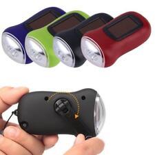 Mini Portable Hand Crank Dynamo 3 LED Solar Powered Flashlight Camping Torch