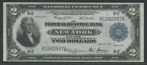 "FR751 $2 1918 FRBN NEW YORK ""BATTLESHIP"" NOTE XF+ WLN231"