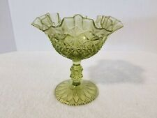 Vintage Light Green Glass Ruffled Pedestal Candy Dish