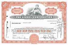USA LIONEL CORPORATION stock certificate MODEL TRAINS