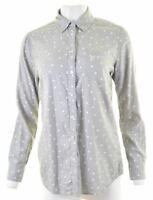 CREW CLOTHING CO. Womens Shirt Size 10 Small Grey Polka Dot Cotton  MW24