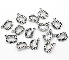 Vampire Charms Pendants Antiqued Silver Fang Charms BULK Charms Halloween 50pc