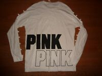 "VICTORIAS SECRET PINK ""PINK"" CAMPUS DOG CREW OPEN BARRED LONG SLV TEESHIRT NWT"