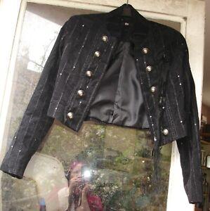 TFNC black drummer boy jacket size 8 GOTH embellished