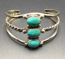 OLD Vintage 1920s NAVAJO Sterling Silver & TURQUOISE Cuff BRACELET