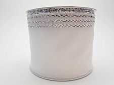 "WHITE Organza Silver Trim Edge Pull STRING Gift Ribbon 2.75"" inches x 25 yards"