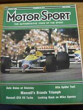 Aug-1986 MOTOR SPORT MAGAZINE: GIORNALE SETTIMANALE AUTOMOBILISMO-in sospeso il contenuto W
