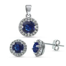 Halo Blue Sapphire & Cz .925 Sterling Silver Pendant & Earrings Set
