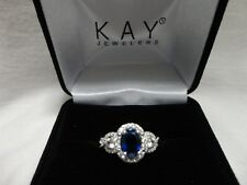 Kay Jewelers Sterling Silver Blue and White Lab-Created Sapphire Ring Size 6.75