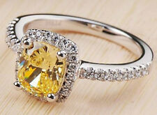 2.36 Ct Deep Yellow Cushion Cut Simulated Moissanite Ring Size 7+1/2