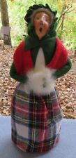 Byers Choice Caroler Traditional Grandmother Shopper White Muff Plaid Skirt Mint