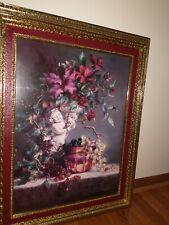 Home Interior Picture Roses Floral Magnolia artist D Giacomo 30 x 24 *Vintage*