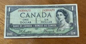 CANADA 1954 DEVIL'S FACE $1 NOTE -