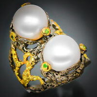 Fineart jewelry Designer Natural Pearl 14mm. 925 Sterling Silver Ring / RVS151