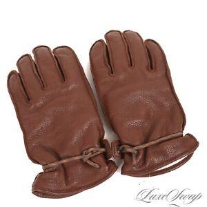 Hestra Deerskin Grain Leather Elastic Wrist Chestnut Brown Winter Gloves 8 NR