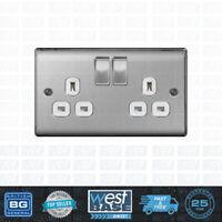 BG NEXUS Metal NBS22W BRUSHED STEEL Double Plug Socket 2 Gang Satin White