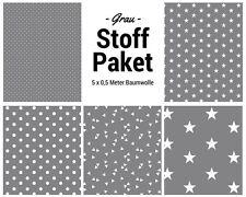 Stoffpaket grau 5x (0,5 x 1,50m) Patchworkpaket Baumwolle Nähpaket DIY Stoffe
