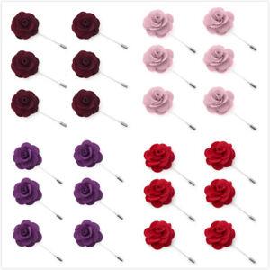 Lot of 6 TopTie Mens Lapel Pin Flower Set Solid Boutonniere Stick for Event Suit
