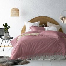 Gypsy Smokey Rose Washed Cotton Tassel Quilt Cover Set by Vintage Design Home...