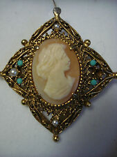 "BROCHE ""Florenza"" CAMEE COQUILLE, PERLE FINE, TURQUOISE"