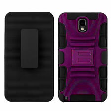 Purple Belt Clip Armor Holster Stand Case Cover For Samsung Galaxy Note 3 N9000